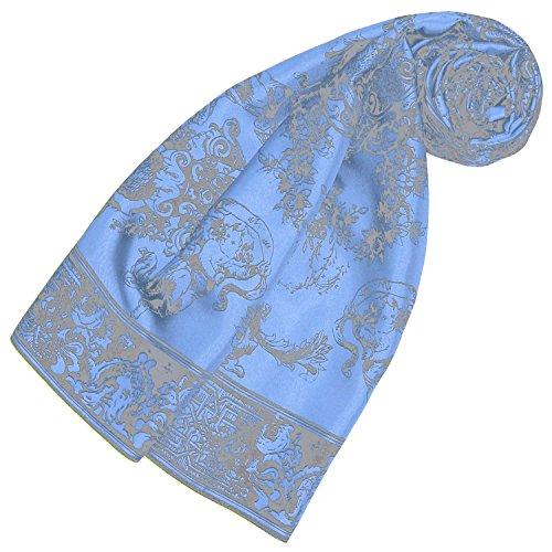 LORENZO CANA Luxus Seidentuch aufwändig bedrucktes Tuch 100% Seide 90 cm x 90 cm harmonische Blau Farben Damentuch Schaltuch 89171