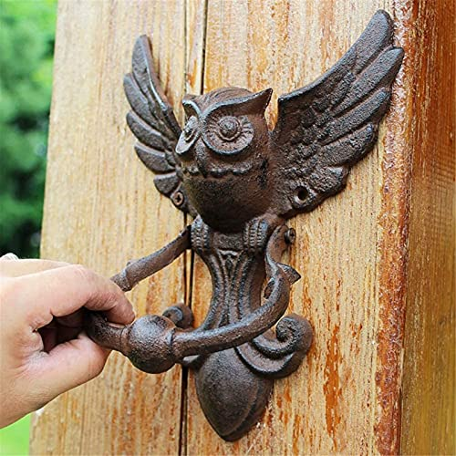 Aldabas Puerta Aldaba de Puerta de Hierro Fundido de Búhos, Aldaba de Puerta de Exterior Vintage para Patio de Jardín, Aldaba de Puerta Delantera, Pomos de Puerta