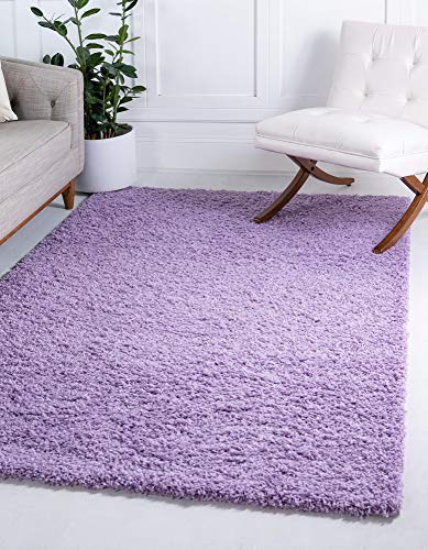 Unique Loom Solo Solid Shag Collection Modern Plush Lilac Area Rug (8' 0 x 10' 0)