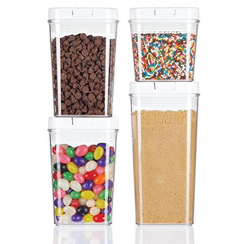 mDesign Juego de 4 recipientes para alimentos – Botes organizadores herméticos de plástico para cocina y nevera – Organizador de cocina sin BPA para café, cereales, ingredientes y demás – transparente