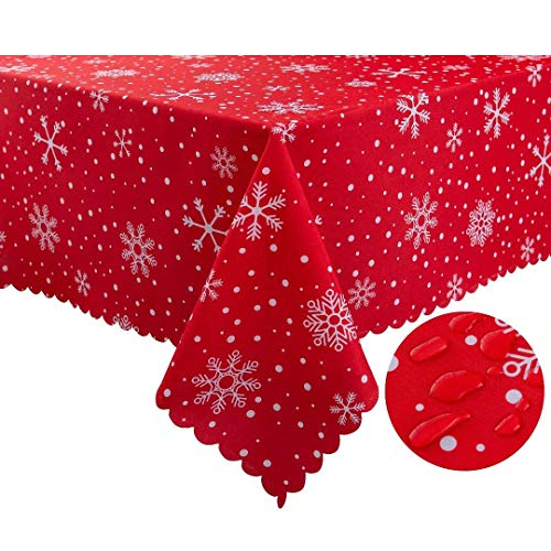 Xikaywnt Rectangle Christmas Tablecloth - 60 x 102 Inch - Water Resistant Spill Proof Oblong Table Cloth Decorative Table Cover for Party Picnic Outdoor and Indoor Use, Snowflake and Dot
