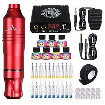 Dragonhawk Cartridge Tattoo Machine Atom Pen Kit Rotary Tattoo Machine Cartridge Needles Power Supply for Tattoo Artists  Atom+Ink