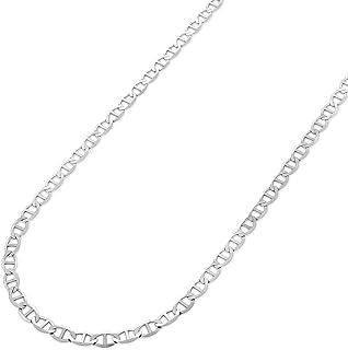 ARGENTO REALE Cadena de plata de ley 925 de 3,5 mm a 8 mm de ancho sólido y plano mariner con ancla, cadena de plata de le...