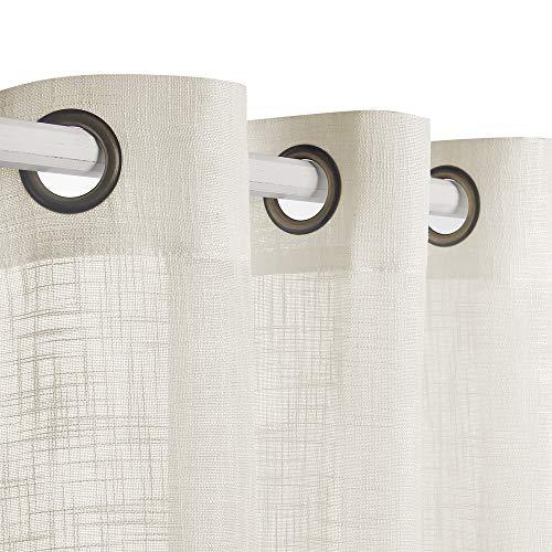 VOILYBIRD Palma Leinen-Gardinen, halbtransparent, 213 cm lang, für Wohnzimmer, Gardinen & Gardinen, bronzefarbene Ösen (elfenbeinfarben, 132 cm B x 213 cm L, 2 Paneele)