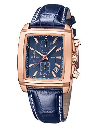 Reloj MEGIR para Hombre, Reloj Cuadrado Retro Azul Dorado, cronógrafo, Luminoso, Impermeable, de Moda, Multifuncional, Reloj Conectado a Mano de Cuero