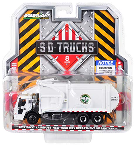 Mack 2019 LR Refuse and Recycle Garbage Truck White DSNY (New York City Department of Sanitation) 1/64 Diecast Model by Greenlight 45080 C