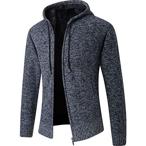 Cárdigan con Capucha y Cremallera Completa de Color sólido para Hombre Otoño e Invierno Moda Simple Casual Versátil Abrigo de suéter cálido 3XL