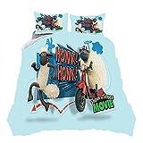 ZHYINA Juego de cama de la oveja Shaun (135 x 200 cm, funda de almohada de 80 x 80 cm), diseño de oveja