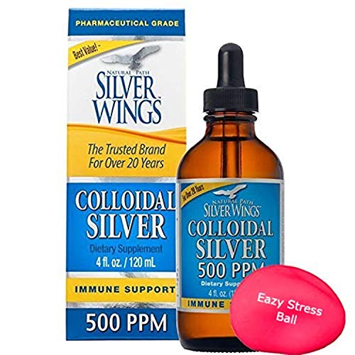 Natural Path Silver Wings - Colloidal Silver 500 ppm - Pure Mineral Supplement - Immune Support for Your Family - Powerful Healing Without a Bad Taste (4fl oz/120ml) Bonus Stress Ball
