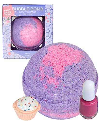 Beauty Bubble Bath Bomb for Kids with Surprise Nail Polish or Lip Gloss Inside by Two Sisters. Large 99% Natural Fizzy in Gift Box. Moisturizes Dry Sensitive Skin. Releases Color, Scent, and Bubbles.