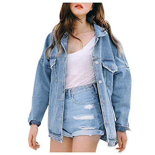 Overdose Chaqueta De Mezclilla De Las Mujeres del OtoñO del Invierno De La Vendimia Pantalones Vaqueros Flojos De Manga Larga Denim BotóN De Moda Solapas Abrigo Outwear Tops (Large, Azul)