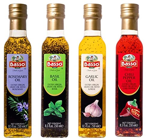 Basso, Garlic, Rosemary, Basil, Chili Pepper, 4 bottles x 8.5 fl.oz (250ml), Naturally Infused Flavored Extra Virgin Olive Oil for Dipping & Tasting, 4 pk Gift Set (Gift Box Included), All Natural, Great Corporate Gift,