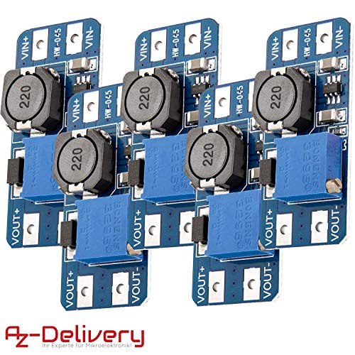 AZDelivery 5 x MT3608 DC-DC Netzteil Adapter Step up Modul kompatibel mit Arduino inklusive eBook!