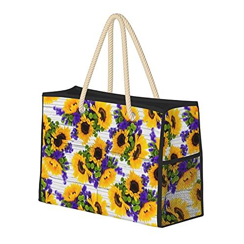 Bolsa de playa grande y bolsa de viaje para mujer – Bolsa de billar con asas, bolsa de semana y bolsa de noche – Country Rustic White Wood Purple Yellow Girasol