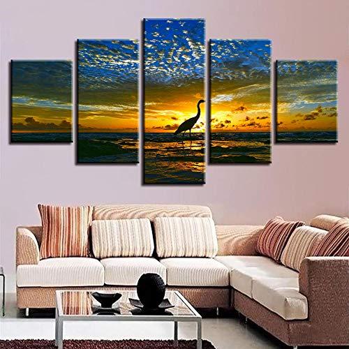 SGJKG Cuadros modulares de impresión en alta definición, 5 piezas, diseño de flamencos, decoración para el hogar, decoración de animales, arte de pared, sala de estar, dormitorio, obra de arte