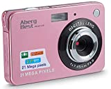 AbergBest 21 Mega Pixels 2.7' LCD Rechargeable HD Digital Camera Video Camera Digital Students Cameras,Indoor Outdoor for Adult/Seniors/Kid (Rose Gold)