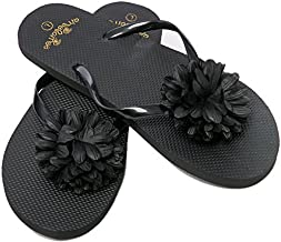 Flip Flops Womens Pool Beach Shoes with Flower Pattern- Floral Design (Medium/US 7-8, Black)