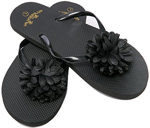 Flip Flops Womens Pool Beach Shoes with Flower Pattern- Floral Design (Medium/US 7-8, Black)
