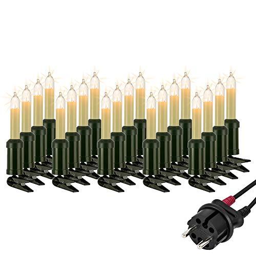 Hellum Lichterkette außen / 20 Glühfaden warm-weiß Schaftkerzen/Länge 19 m + 2x1,5 m Zuleitung, schwarzes Gummi-Kabel/Fassungsabstand 100 cm/teilbarer Stecker/Weihnachten / 845501