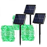 Solar String Lights Outdoor - 3 Pack 33ft 100 LED Waterproof Solar Fairy Lights with 8 Modes for Patio Yard,Garden,Christmas Thanksgiving Decorations (Green)