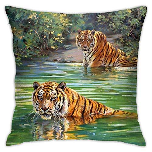 xiancheng Fundas de almohada, diseño de tigre río natural, algodón y poliéster, fundas cuadradas para sofá, decoración del hogar, 45,7 x 45,7 cm