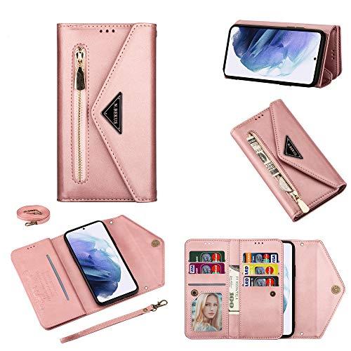 SCRENDY Funda para Xiaomi Redmi Note 10/10S Case, Cartera de Cuero Real Suave para Celular Monedero para Mujer Monedero para Mujer Bolso para Teléfono Crossbody-Rosado