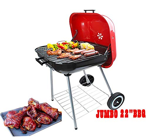 """22"""" Freestanding BBQ utility Grill for Outdoor Backyard Cooking, Stainless Steel for Standing & Grilling Steaks, Burgers,Camping,Hiking, Pitmaster & Tailgating-(Red/Black,22 X 25 Inch)"""