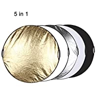 LIN QRE 80cm 5 in 1(シルバー/半透明/金/白/黒)折りたたみ式写真スタジオリフレクターボード DONG
