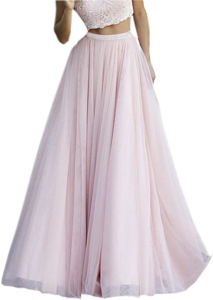 Lisong Floor Length Pink Tulle A-line Prom Party Skirt for Women