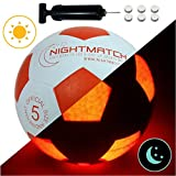 NIGHTMATCH Light Up Football INCL. BALL PUMP and SPARE BATTERIES - Inside LED lights up when kicked - Glow in...