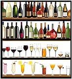 Wallario Möbelfolie/Aufkleber, geeignet für IKEA Malm Kommode - Schnapsregal mit vielen bunten Flaschen mit 4 Schubfächern