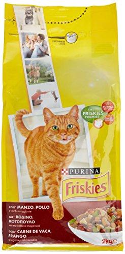 Purina Friskies Adult Crocchette per Il Gatto con Manzo, Pollo e Verdure Aggiunte, 2kg