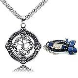 Htulip Collar vikingo, de acero inoxidable 316L, árbol nórdico de la vida Yggdrasil, collar con colgante de amuleto celta escandinavo para hombres y mujeres