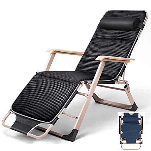 MIEMIE Folding Chair Lounger, Sun Lounger Foldable Flat Zero Gravity Deck Chairs Adjustable Reclining Backrest and Removable Pillow - for Patio Garden Beach Pool