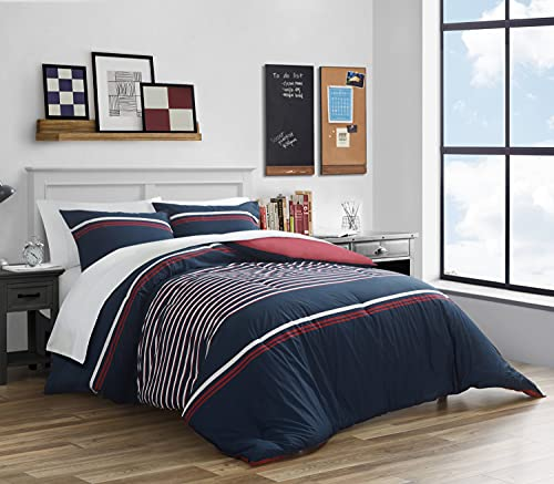 Nautica   Mineola Collection   100% Cotton Cozy & Soft, Durable & Breathable Reversible Comforter Matching Shams, 3-Piece Bedding Set, Queen, Navy