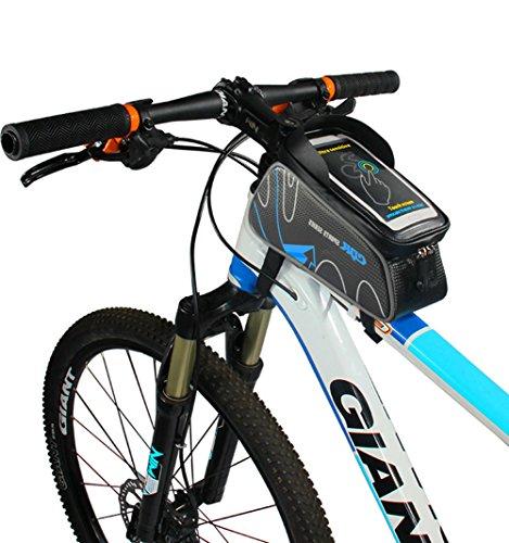 Florally Fahrradtasche Rahmentaschen, 6 Zoll Fahrrad Rahmentasche mit schwarzem reflektierendem Streifen Frarradschnalletasche Handy Rahmentasche