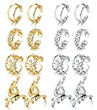 JOERICA 4 Pairs Silver Ear Cuff Earrings for Women Girls Clip on Fake Lip Cartilage Tragus Helix Body Jewelry Set (B:8 pairs)