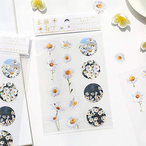 Mohamm 1pc PVC Daisy Lavender Sakura Mini Scrapbooking Stickers Aesthetic Paper Sticker Flakes Stationary Art Supplies