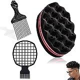 Éponge Twist,3Pièces Afro Twist Peigne à Cheveux 2 En 1 Portable Afro Twist Peigne Coiffure Vague Hommes Curl Brush Comb pour Cheveux Outil de Coiffure Barbier et Usage Personnel