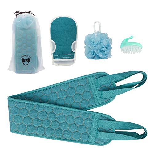 Skycase Body Back Scrubber, 4 Pack Exfoliating Body Scrubbers Set with Body Back Scrubber/Loofah Sponge/Scrubbing Glove/Hair Shampoo Brush for Bath Shower,Invigorate Your Skin-Blue