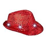 Relaxdays- Cappello da Festa con Paillettes, 6 Luci a LED, Glitter, da Uomo e Donna per Adulti, Rosso, 10023897_47