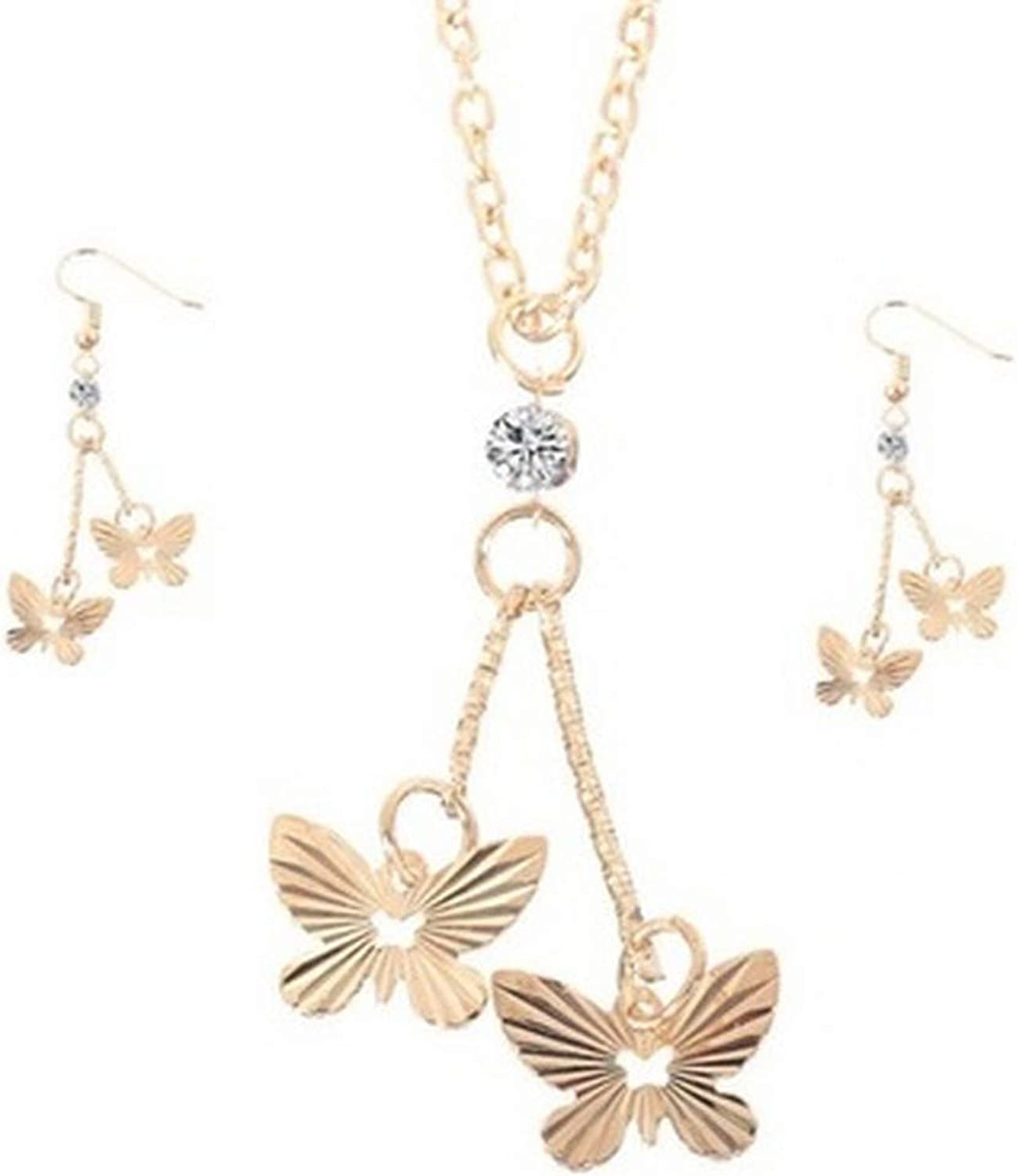 Socialfloats Gold Color Butterfly Dangle Pendant Necklace Earrings Jewelry Set