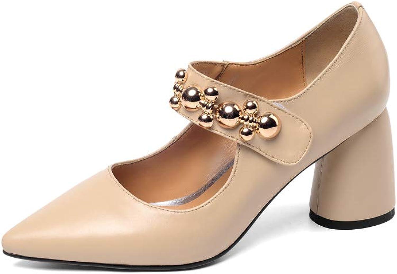 Nio Sju genuina läder Kvinnors spetsiga spetsiga spetsiga Toe High Chunky Heel Elegant Handgjord Concise Velcro Strap mode Pumpar  grossistpris och pålitlig kvalitet