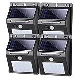 SALCAR Luz Solar Exterior, Luces LED Solares Exteriores con Sensor de Movimiento, Focos Solares Exterior, IP65 Impermeable Aplique Solar para Exterior Jardin, 4 Pack