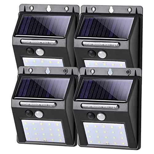 SALCAR Luce Solare LED Esterno, LED Luci Solari LED da Esterno con Sensore di Movimento, Illuminazione Wireless Lampada, IP65 Luce Led Solare per Giardino, Parete, 4 Pezzi