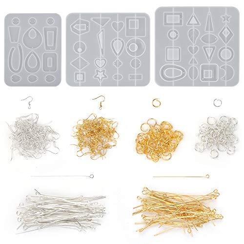 303 pièces moules à bijoux Kits de silicone, moules de moulage de résine de boucle d'oreille, moule en silicone époxy pour la fabrication de bijoux à bricoler soi-même