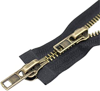 YaHoGa #8 32 Inch Two Way Separating Jacket Zipper Antique Brass Metal Zippers for Jackets Coats Sewing Crafts (32
