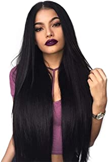 Lanting Hair Heat Resistant Fiber Hair Synthetic Wig Mermaid Black Color Silk Straight Synthetic Lace Front Wigs for Black Women(22inch lace front wig)