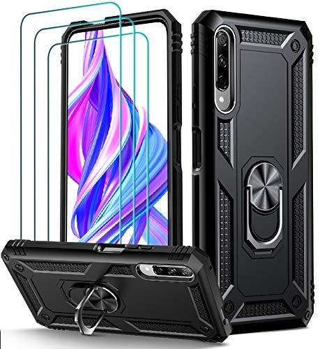 ivoler Funda para Huawei P Smart Pro 2019 / Honor 9X Pro + [Cristal Vidrio Templado Protector de Pantalla *3], Anti-Choque Carcasa con 360 Grados Anillo iman Soporte, Hard Silicona TPU Caso - Negro