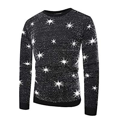 Realdo Men's Print Sweater, Mens Autumn Winter Warm Pullover Knitted Top Sweater Outwear Blouse(Medium,Black2) by